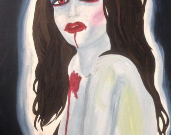 Acrylic on Canvas Woman Vampire Bite Portrait 19.5 x 16""