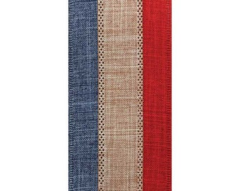 """2.5"""" Wired Red, White, Blue Ribbon - 10 Yards"""