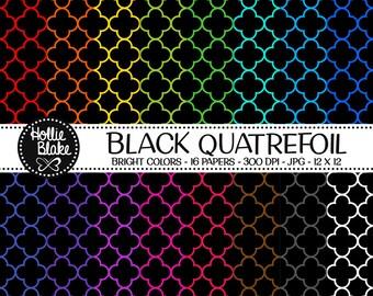50% off SALE!! 16 Black Quatrefoil Digital Paper • Rainbow Digital Paper • Commercial Use • Instant Download • #QUATREFOIL-102-1-BB