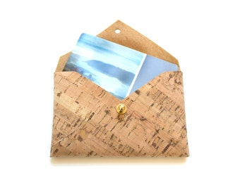 Minimalist Wallet, Business Card Holder in Natural Cork - Stocking Stuffers for Women