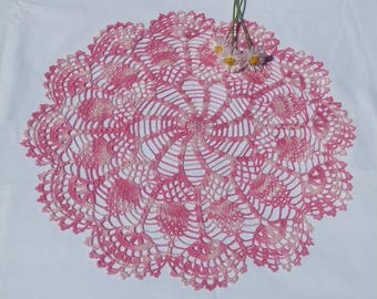 READY TO SHIP New pink  melange crochet doily 17,7 inches-crochet tablecloth