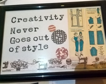Punk Art Creativity never goes out of style sewing  6 x 4 frame art