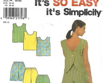 Simplicity 8203 Size 10-12-14-16-18-20 Misses' Spring/Summer Top and Shorts Set Sewing Pattern 1998 Uncut