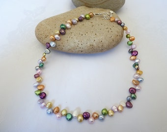 Multi Coloured Baroque Freshwater Pearl Necklace 15 to 18 Inches Scottish