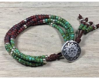 Beaded Bracelets for Women, Southwest Style Bracelet, Southwest Beaded Leather Bracelet, Wrap Bracelet, Southwestern Bead Bracelet, Boho