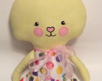 "Handmade Girl Cloth Doll 23"" Tiffany Bunny Spring Rabbit Easter Holiday Plush Softie Rag Doll Yellow"