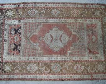 3'5''x5'6'' Vintage Oushak Rug, Faded Turkish Rug, Small Area Rug
