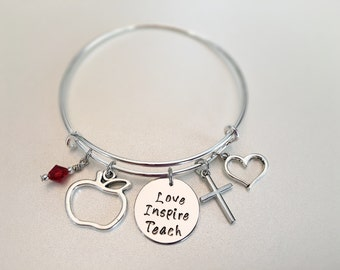 Love Inspire Teach Teachers bangle Instructors Professors Apple Red dangle Cross Heart charms Religious