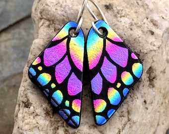 SMALL Butterfly Earrings Hand Etched Dichroic Glass Pink Rainbow & Sterling Silver