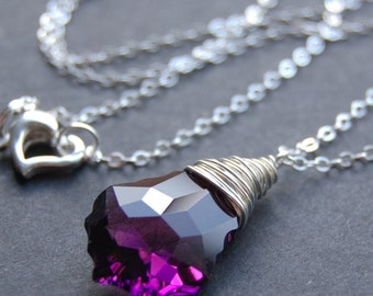Purple Crystal Necklace, Amethyst Swarovski Crystal Wire Wrapped Baroque Briolette, Sterling Silver Chain, Plum, Violet