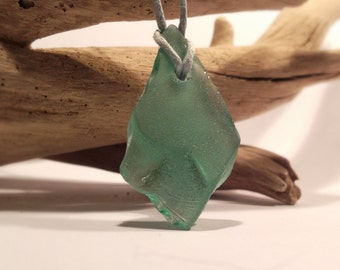Sea Glass Pendant Necklace, Teal Droplet