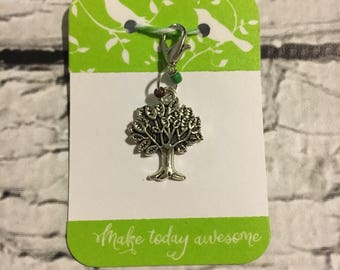 Small Single Tree Planner TN Charm w/Green-Brown Accent Beads Travelers Notebooks
