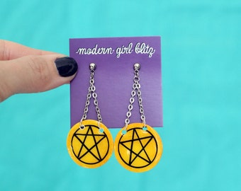 Tarot Statement Earrings | Pentacles