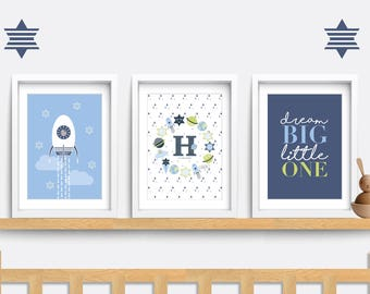 Nursery wall art. Set of 3 Baby Nursery prints. Baby nursery decor. Space themed nursery. Baby nursery print. Baby boy gift. Baby name print