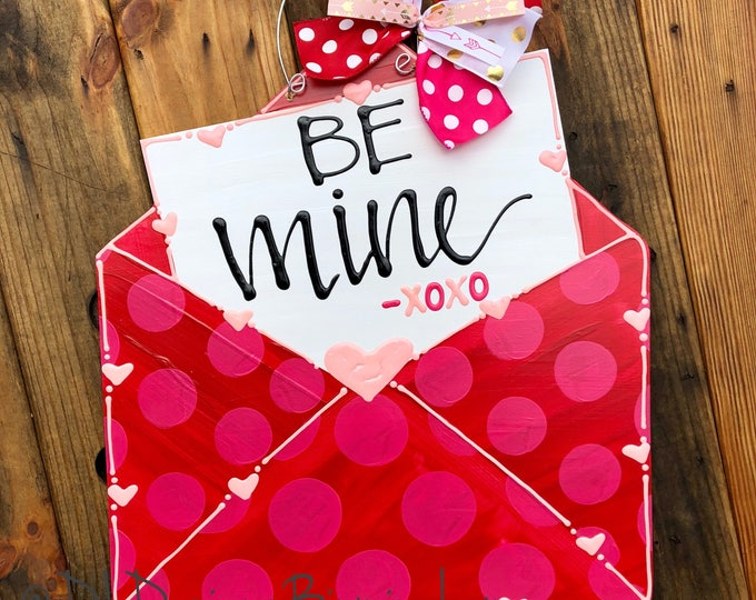 Valentine's Day love note envelope Door Hanger handpainted hand lettered