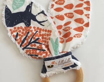 custom teether wooden ring ~ navy/orange woodland animals ~ teething toy ~ teething ring~bunny ear teether~ teethers from lillybelle designs
