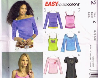 Misses' 16-22 Plus Size Easy Pullover Top Pattern - Off Shoulder Long Sleeve Top - Spaghetti Strap Camisole Top - T Shirt  - McCalls M4872
