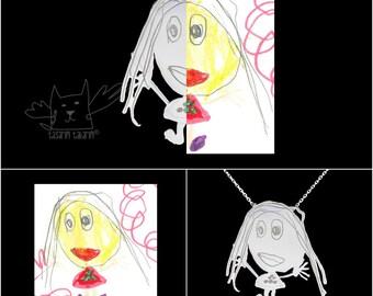Collier d'art de l'enfant, personnalisé sur mesure en collier en argent sterling de dessins de vos enfants, cadeau pour la mère
