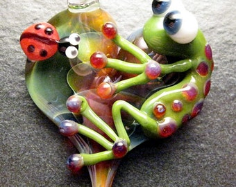 Ladybug Frog pendant - glass heart lampwork jewelry pendant focal bead necklace - Boomwire Glass jewelry