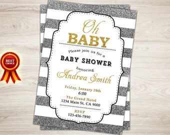 Silver Glitter Baby Shower Invitation. Oh Baby Shower Baby Shower Invitation. Gold and black white stripes. Baby Shower Printable Invitation