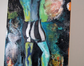 "Original Mixed Media Piece of Shirtless Male Figure Amidst a Surreal Landscape Contemporary Gallery Pop Art -  31 1/4"" x 39"" -"