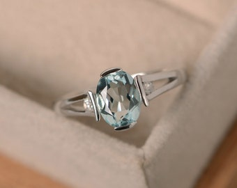 Aquamarine ring, sterling silver, March birthstone, gemstone, engagement ring