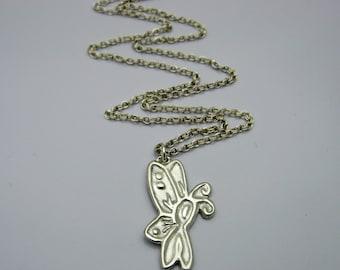 Silver Cancer Ribbon Necklace, Cancer Survivor Necklace, Butterfly Awareness Necklace, Silver Butterfly Necklace, Handmade Silver Neckl