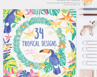 3 FOR 2. Watercolor Tropical Clipart - Jungle Leaves - Planner Sticker Ideas - Summer Illustrations - Toucan - Orchid Flowers, Leaf, Wreath.