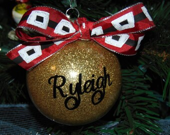 Personalized Glitter Christmas Ornaments CUSTOM