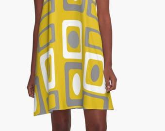 Retro Dress, Womens Gift, Dress, Summer Dress, Party Dress, XL Dress, Retro, Mini Dress, Mod Dress, Yellow Dress, Casual Dress, Mom Gift