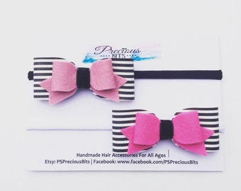 Stripe Bow Headband and Stripe Hair Clip- Black and white stripe bow, Christmas gift, Girls Gift, Stripe headband, Halloween bow, Stripe bow