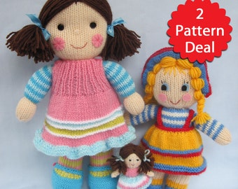 Maisie and Sunny Sally - 2 pattern deal - toy doll knitting patterns - PDF INSTANT DOWNLOAD