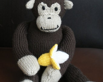 Hand made  handknitted monkey toy