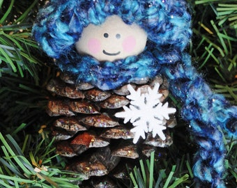 Pinecone Gnome Christmas Tree Ornament Crocheted Blue Red Purple Pink Green Hat Scarf Holiday Decoration By Distinctly Daisy