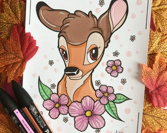 Hand made Bambi drawing (ORIGINAL, no print)