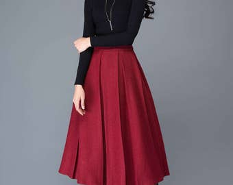 Red wool skirt, midi skirt, wool skirt, women skirts, winter skirt, pleated skirt, long skirt, long wool skirt, red long skirt  C1032