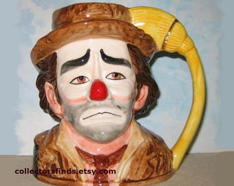 New Emmett Kelly Clown MUSICAL MUG Stein,  Send In The Clowns, World's Greatest Clown, 1983 Royal Manor, glazed ceramic, Never Displayed