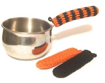 Carrot Orange And Black Pot Handle Covers-Trio