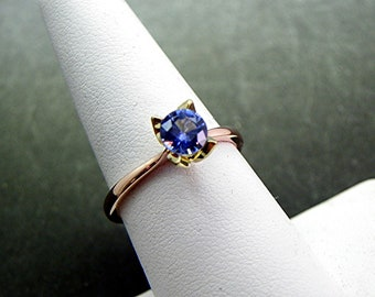 Custom 18K Rose 18K Green gold Solitaire Tulip Engagement ring Set with natural Ceylon Blue Sapphire .71 carats  1480