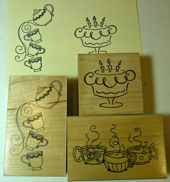 WOOD BLOCK STAMPS ~ Tea and Cake Stamps ~ Medium Size Wood Blocks ~ Scrapbookers, Card and Papercraft Stamps ~ Excellent Preowned Condition