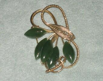 Jade Gold Tone Brooch, Free Form Leaf Pattern, Exquisite Design, Jade Leaves