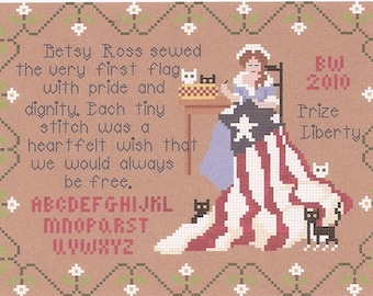Betsy's Wishes / Small Patriotic Sampler / Cats