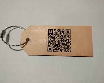 QR Code Tag/ Scan me/ Leather Luggage Tag/ Custom/ Scan