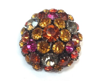 50s Orange  Pink Rhinestone Brooch | Autumn Colors Domed Pin | Julianna Style