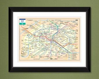 Paris Mini-Metro Map (16x12 Heavyweight Art Print)