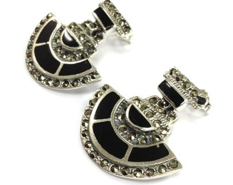 Art deco Style black onyx and Marcasite Earrings 925 Sterling silver