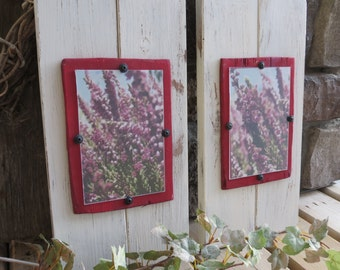 Distressed Wood Plank Frame Set of Two for 4X6 - Shabby, Cottage Chic, Rustic, Country, Red, White, Antique