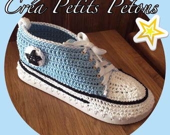 Converse style sneakers crochet 100% cotton