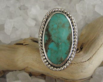 Kingman Turquoise Sterling Silver Ring by Gordon