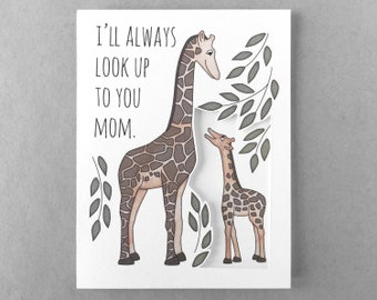 Funny Mother's Day card | Card from child Giraffe card Card from daughter Card from son Pun card Card for mom 3d Mother's Day card